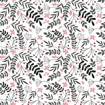 Vector illustration of flowers seamless pattern with leaves. Natural background