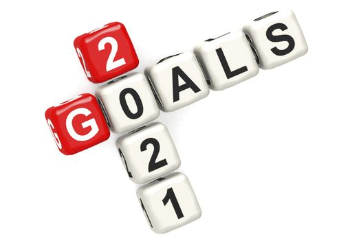 Goals 2021 word concept on cube block isolated, 3d rendering
