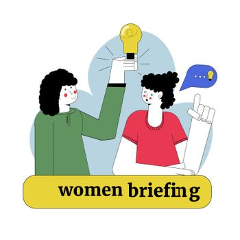 Business conference. Woman team leader, female brainstorming. Office meeting, feminine briefing vector illustration.