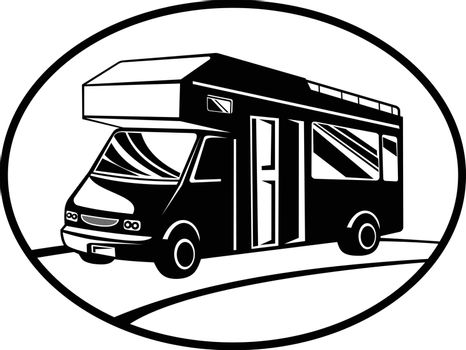 Retro woodcut black and white style illustration of a campervan or motorhome viewed from side on a low angle set inside oval shape done in retro style.