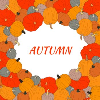 Autumn text vector banner with colorful pumpkins on transparent background. Vector illustration on doodle style. Decoration for greeting cards, posters shopping discount promotion