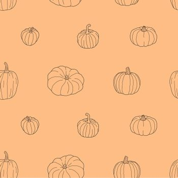 Transparent pumpkin seamless pattern. Vector illustration isolated on orange background. Healthy vegetarian food. Doodle style. Decoration for greeting cards, posters, patches, prints for clothes, emblems.