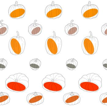 Transparent pumpkin with colored spots seamless pattern. Vector illustration isolated on white background. Healthy vegetarian food. Doodle style. Decoration for greeting cards, posters, patches, prints for clothes, emblems.
