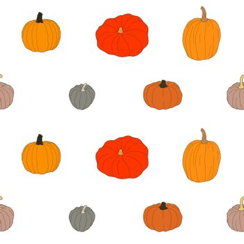 Pumpkin colorful seamless pattern. Vector illustration isolated on white background. Healthy vegetarian food. Doodle style. Decoration for greeting cards, posters, patches, prints for clothes, emblems.