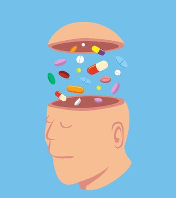 Man with a lot of pills in his open head, idea concept cartoon isolated on blue background vector illustration