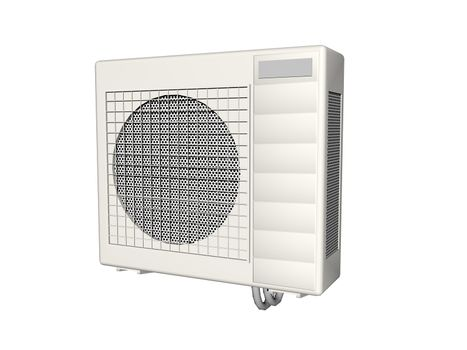 simple air conditioning with grille and fan