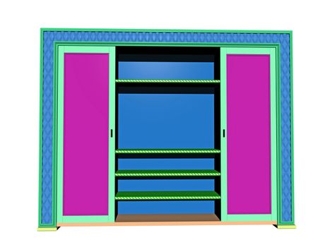 colorful wooden wardrobe with compartments
