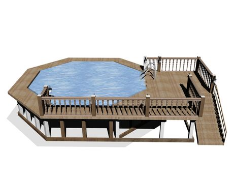 round swimming pool in the garden with wooden edging