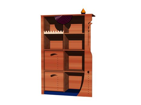 wooden shelf with compartments and drawers