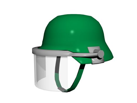green hard hat with privacy protection for forestry workers
