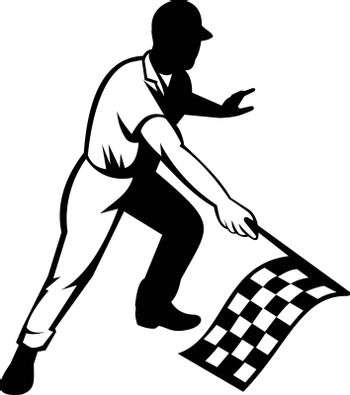 Retro woodcut black and white style illustration of a flagman or race official waving a checkered or chequered flag at start finish line indicating race is officially finished on isolated background.