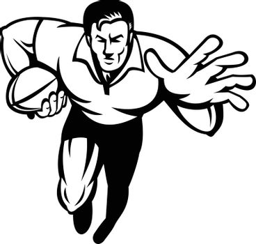 Retro black and white style illustration of a rugby player running with ball fending off with other hand viewed from front on isolated background.
