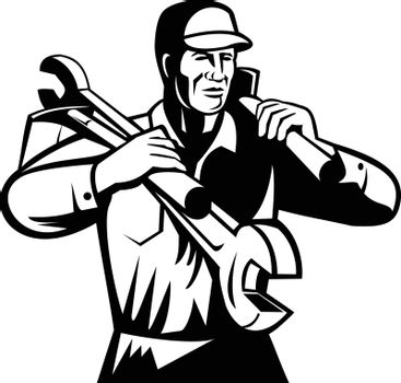 Black and white illustration of a handyman, repairman, mechanic, builder tradesman worker carrying spanner wrench and spade viewed from front on isolated background done in retro style.