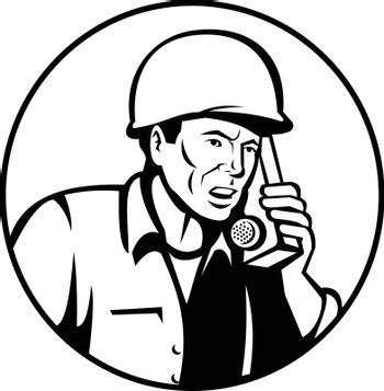 Black and white illustration of a World War two American soldier serviceman talking and calling walkie-talkie radio communication set inside circle on isolated white background  done in retro style.