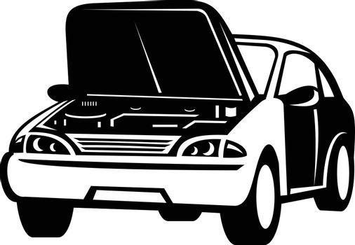 Retro style illustration of an automobile car auto with popped or open hood that has a breakdown viewed from front on isolated background done in black and white style.