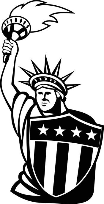 Mascot illustration of Lady Liberty with flaming torch and USA American stars and stripes shield viewed from front on isolated background in retro black and white style