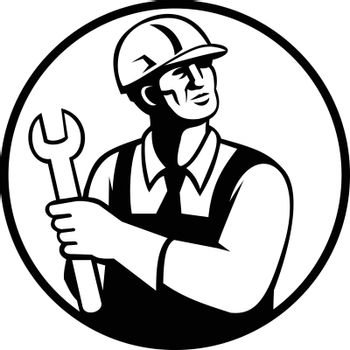 Retro black and white style illustration of a repairman or handyman holding a spanner looking up set inside circle on isolated background.