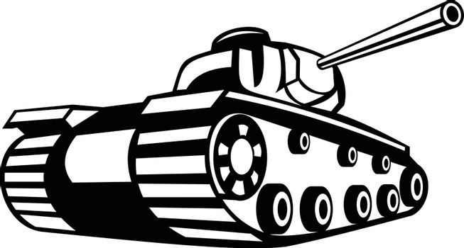 Retro black and white style illustration of World War Two battle tank pointing it's gun or cannon to side on isolated background.