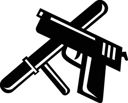 Retro style illustration of a crossed police baton, truncheon  or night stick and hand gun on isolated background done in retro black and white style.