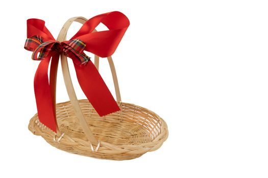 Empty gift basket with red ribbon bow for Christmas