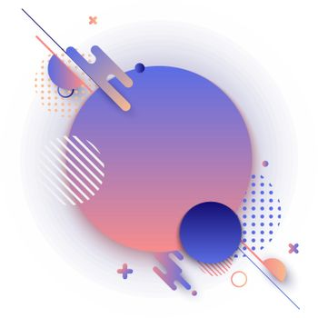 Creative abstract background geometric circle gradient shape pattern with line. Vector illustration