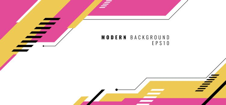Banner web design template pink and yellow geometric design on white background. Vector illustration