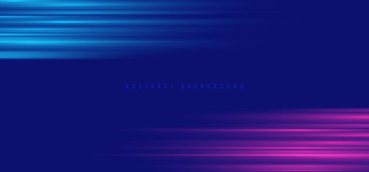 Abstract blue and pink neon color light effect horizontal background. Vector illustration