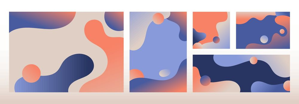 Set of modern template design abstract liquid shapes gradient colors background. You can use for cover brochure, flyers, leaflet, magazine, business card, branding, banners web, headers, book covers, print ad, presentation, etc, Vector illustration