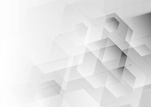 Abstract background white and gray hexagon with diagonal line, Technology digital concept. Vector illustration