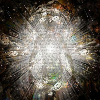 Through the centuries. Spiritual art. 3D rendering
