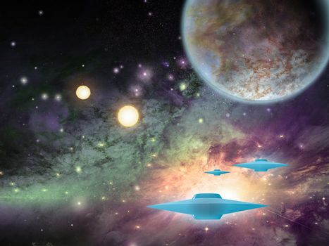 Flying saucers in space. Planets and suns. 3D rendering