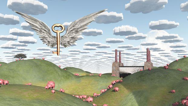 Fields of greed. Surreal metaphoric art. 3D rendering