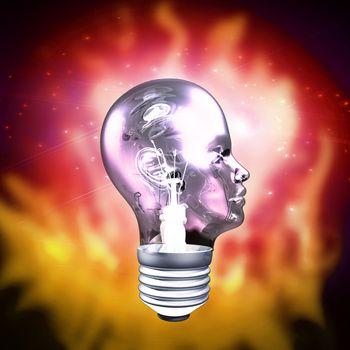 Human Head Light Bulb. 3D rendering