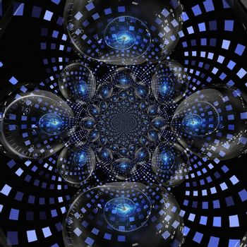 Time spirals in crystal balls. 3D rendering