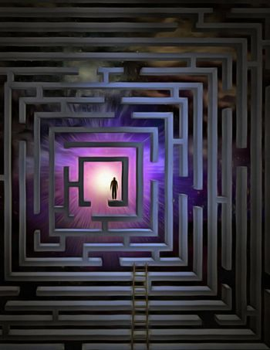 Man inside the maze. 3D rendering