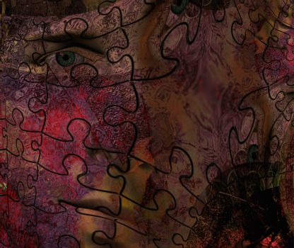Mystic abstract face. 3D rendering
