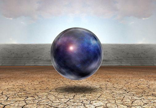Surreal digital art. Universe in bubble in arid land. 3D rendering