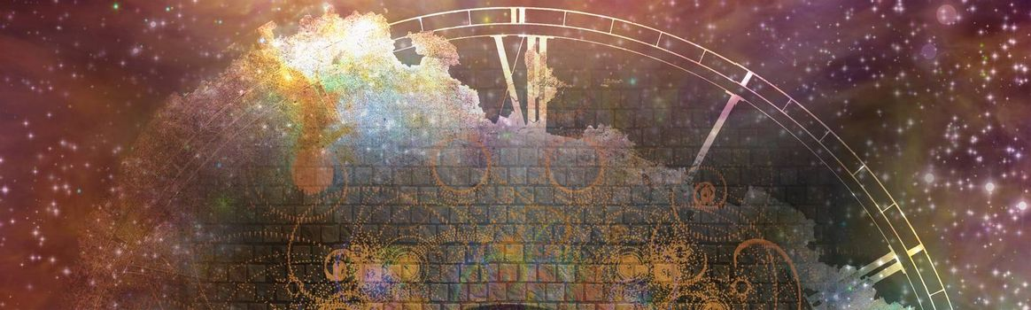 Time and space composition. Banner format. 3D rendering