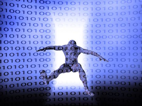 Droid jump. Binary code background. 3D rendering