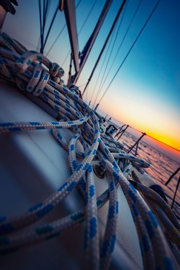 Romantic Sailing in Mediterranean Sea on Sunset. Luxury Boat on Summer Vacation. Water Sport. Active Lifestyle.