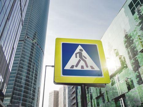 Traffic sign - pedestrian crossing. Urban cityscape. Pictogram o