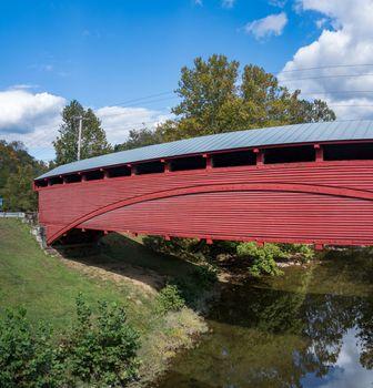 Barrackville covered bridge is well preserved Burr Truss construction in West Virginia