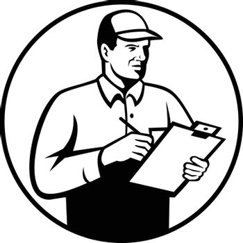 Retro style illustration of an inspector or technician with clipboard checklist writing inspecting set inside circle on isolated background done in black and white.