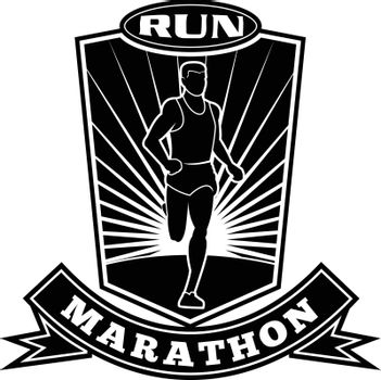 Black and white illustration of a marathon triathlete runner running facing front view set inside shield crest with words run marathon on isolated done in retro style.
