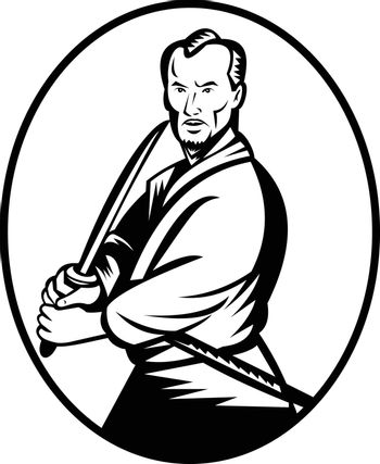 Black and white illustration of a Samurai warrior with katana sword in fighting stance viewed from front set inside oval shape done in retro woodcut style on isolated background.