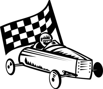Retro black and white style illustration of a vintage soap box derby or soapbox car racer with racing flag in competition viewed from side on isolated white background.