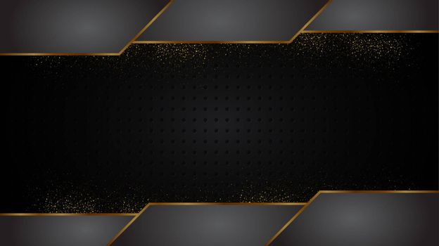 Black and Gold background abstract geometric shapes luxury design wallpaper.Realistic layer metallic elegant futuristic glossy light.Cover layout template.