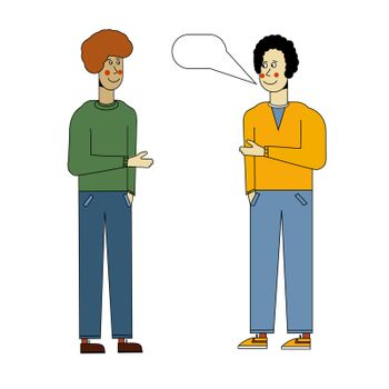The two men are talking. Meeting guys. Morning greeting. Vector illustration in flat style.