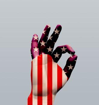 USA OK Sign. 3D rendering