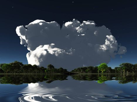 Surreal scene. Big cloud over water surface and forest. 3D rendering